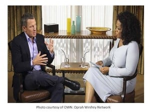 Cyclist Lance Armstrong sitting down to talk candidly with Oprah Winfrey