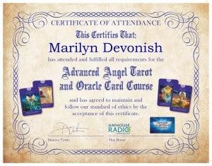 Marilyn Devonish Advanced Angel Card Tarot Reader Certificate from Doreen Virtue