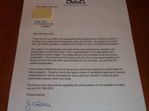 My ACCA 'extra time' notification letter.