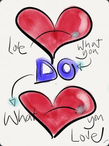 Love what you do.  Do what you love. SketchNote by Caroline Chapple of Chapple Cartoons.co.uk