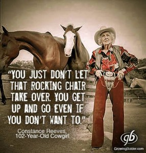 Constance the 102 year old Cowgirl Photograph courtesy of Growing Bolder