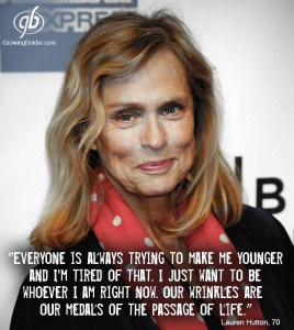 Lauren Hutton - Stop trying to make me younger. Photograph courtesy of Growing Bolder