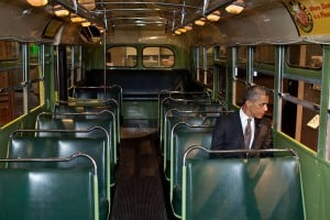 "Barack Obama on the Rosa Parks Bus - ""She refused to give up her seat and changed America."""